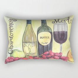 Watercolor Wine Rectangular Pillow