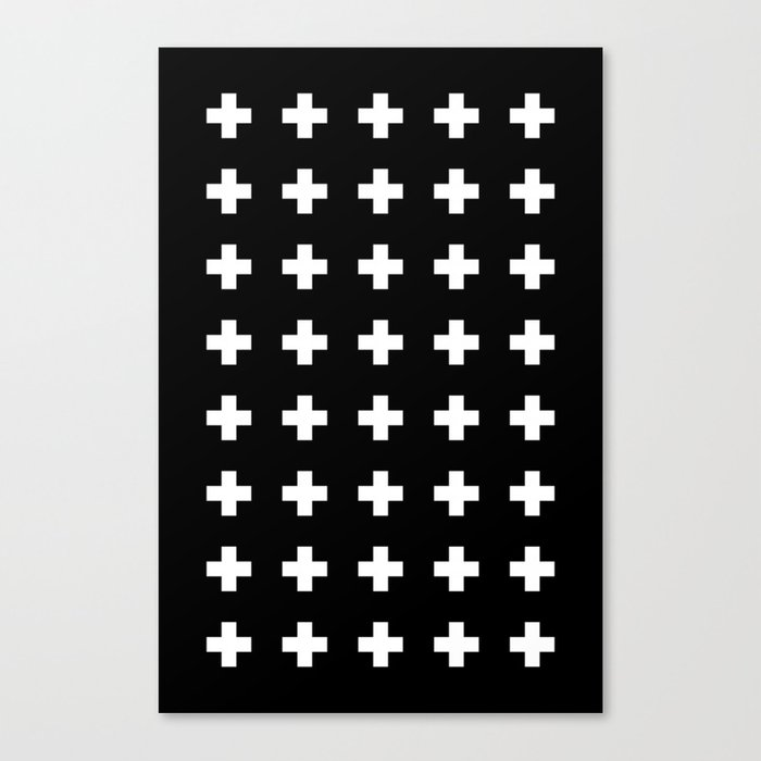 Swiss Cross Black Leinwanddruck