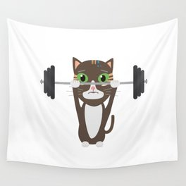 Fitness cat weight lifting   Wall Tapestry