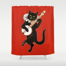 Black Cat for Halloween with Red Shower Curtain