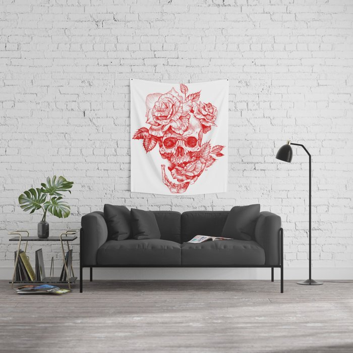 Roses and Human Skull - Red Wall Tapestry