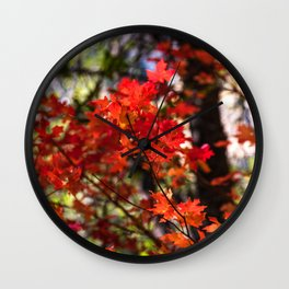 Red Fall Foliage Wall Clock