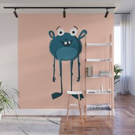 Happy Turquoise Monster Wall Mural