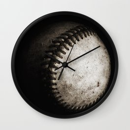 Battered Baseball in Black and White Wall Clock