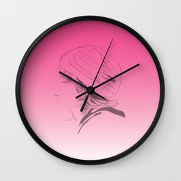 Pink Ombre Outline Wall Clock