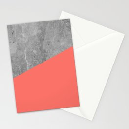 Living Coral on Concrete Geometrical Stationery Cards