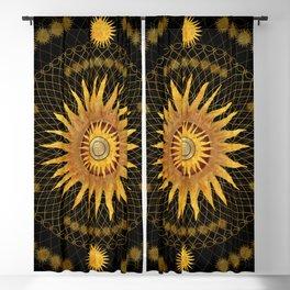 """Black & Gold Vault Mandala"" Blackout Curtain"