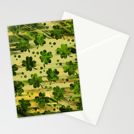 Irish Shamrock -Clover Abstract Gold and Green pattern Stationery Cards