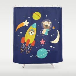 Space Critters Shower Curtain