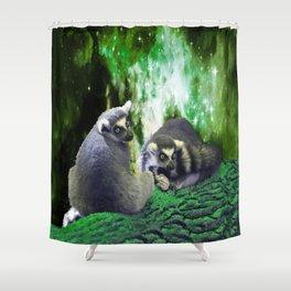 Lemurs on the Emerald Green Knolls Shower Curtain