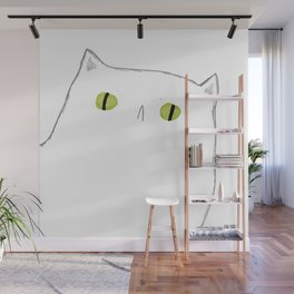 White Cat Face Wall Mural