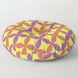 Purple Gray Yellow Minimal Flower Pattern V13 2021 Color of the Year Illuminating & Accent Shades Floor Pillow