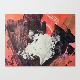 Amazon [2]: a bright, colorful, abstract piece in orange, red, deep purple, and light blue Canvas Print