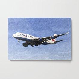 One World Boeing 747 Art Metal Print