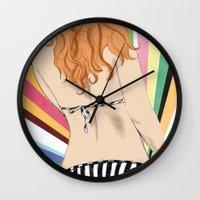 bikini Wall Clocks featuring Bikini by Sil-la Lopez