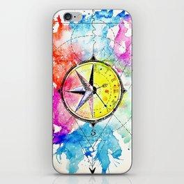 watercolor compas iPhone Skin