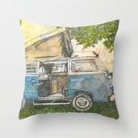 vw bus Throw Pillows featuring VW Camper Bus by Barb Laskey Studio