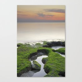 """Green, white and red beach"" Canvas Print"