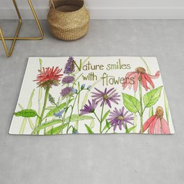 Nature Smiles with Flowers Watercolor Illustration Rug