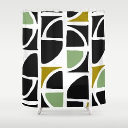 Mid-Century Modern in Mint Green and Yellow Shower Curtain