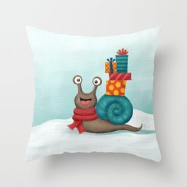 Holiday Snail Throw Pillow