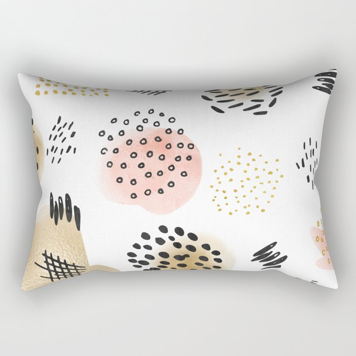 Mid Century Modern Abstract Blush and Gold Pattern Rectangular Pillow
