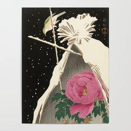 Bird and Peony Japanese Woodcut Poster