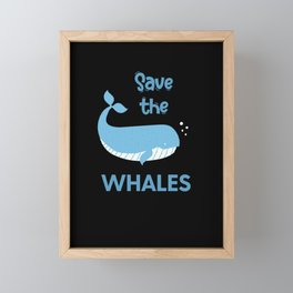 Save the whales children nature fish whales Framed Mini Art Print