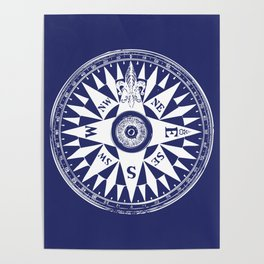 Nautical Compass | Navy Blue and White Poster