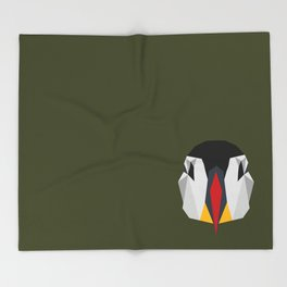 Geometric Puffin (Realistic) Throw Blanket