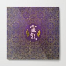Golden Reiki Healing hands Symbol on purple lotus pattern Metal Print