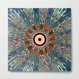 Teal Brown Kaleidoscope Metal Print