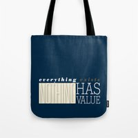 literary Tote Bags featuring Literary Quote Poster — A Passage to India by E.M. Forster by Evan Beltran