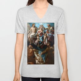 Giulio Cesare Procaccini Coronation of the Virgin with Saints Joseph and Francis of Assisi Unisex V-Neck