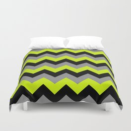 Chevron Silver Lime Duvet Cover