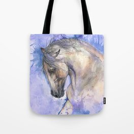 Horse on purple background Tote Bag
