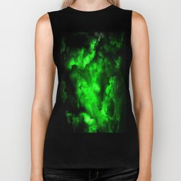 Envy - Abstract In Black And Neon Green Biker Tank