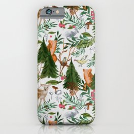 Light Winter Forest Animals iPhone Case