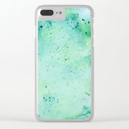 Blue and Green Abstract Clear iPhone Case