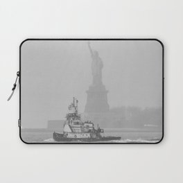 Tug Boat & Statue of Liberty in Black & White Laptop Sleeve