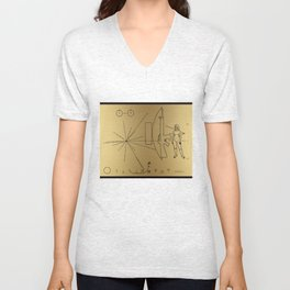 We Come With Piece (Pioneer probe plaque) by Dan Levin Unisex V-Neck