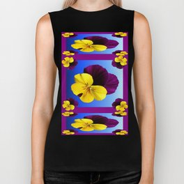 Decorative Shaded Blur Yellow-Purple Violas Art Biker Tank