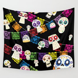 Skulls y Papel Picado Wall Tapestry
