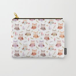 Cute pink lilac owls coral green floral illustration pattern Carry-All Pouch
