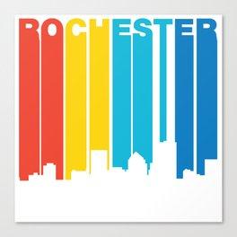 Retro 1970's Style Rochester New York Skyline Canvas Print
