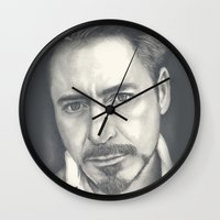 robert downey jr Wall Clocks featuring Robert Downey Jr by Heather Andrewski