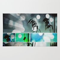 postcard Area & Throw Rugs featuring Silver Grass Postcard Art by minx267