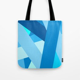 Retro Blue Mid-Century Minimalist Geometric Line Abstract Art Tote Bag