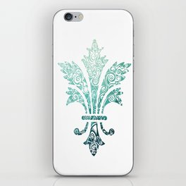Fleur De Lis - French - Blue iPhone Skin