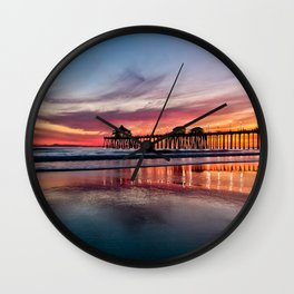 HB Sunsets 2/23/16 ~  Sunset At The Huntington Beach Pier Wall Clock